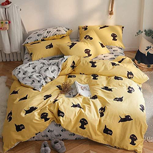VM VOUGEMARKET Cats Duvet Cover Sets Twin,100% Cotton Reversible Yellow White Fishbone Children Kids Bedding Set-Twin,Kitty