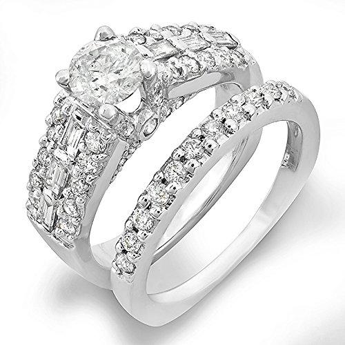 Dazzlingrock Collection 1.30 Carat (Ctw) 14k Round & Baguette Diamond Ladies Bridal Semi Mount Engagement Ring with Matching Wedding Band Set (No Center Stone), White Gold, Size 7