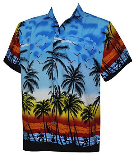 Funky Bleu La Manche Chemise Palmiers Hommes courte Xs Leela w132 7xl avant Plage Poche imprimer Hawaiian Hawaïenne x00nB5rU