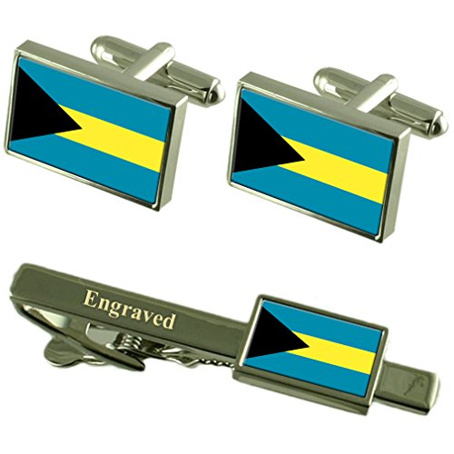The Bahamas Flag Cufflinks Engraved Tie Clip Matching Box Set by Select Gifts