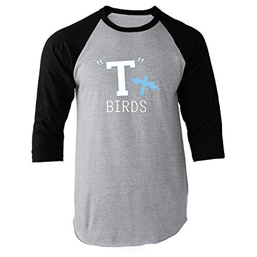 T Birds Gang Logo Black L Raglan Jersey T-Shirt by Pop Threads (Mens T Bird Jacket)