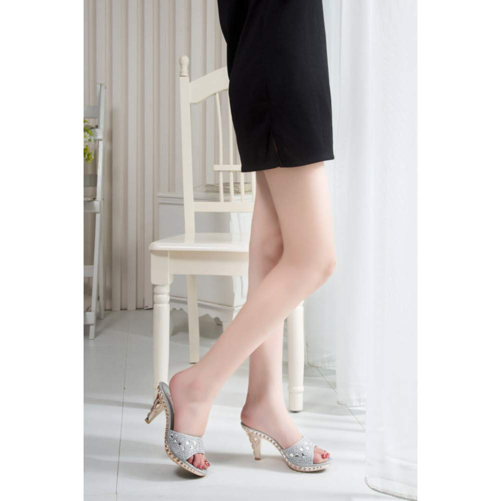 LIHUIYUN Shoes //Spike Heels Slipper Ladies Pumps High Heels Slippers Ladies Crystal Party Ladies Shoes Gold Open Toe Ladies Shoes