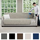 MIGHTY MONKEY Premium Slip and Water Resistant Oversize Sofa Slipcover, Seat Width Up to 78 Inch, Oeko Tex Certified, Suede-Like, Absorbs 6 Cups of Water, Cover for Couches, Dogs, Sofa, Linen