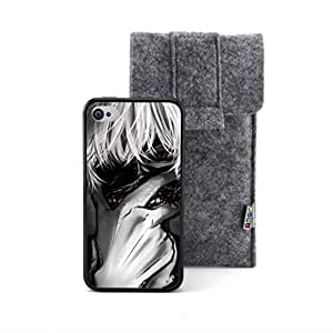 CaseCityLiu - Pattern6 Tokyo Ghoul Jin Muyan Cartoon Design Black Bumper Plastic+TPU Case Cover for Apple iPhone 4 4s 4th 4g 4Generation Come With FREE Non Woven Packing Bag