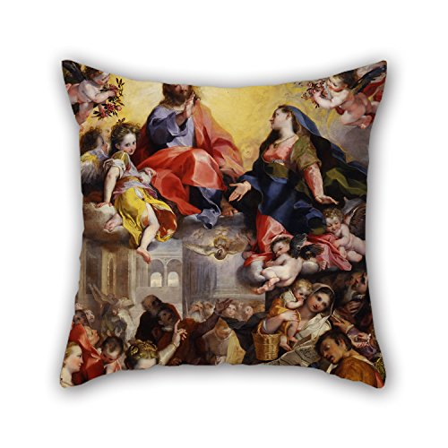 The Oil Painting Federico Barocci - Madonna Del Popolo Pillowcover Of ,18 X 18 Inches / 45 By 45 Cm Decoration,gift For Him,bar Seat,boy Friend,saloon,office,kitchen (2 (Halloween Joke For Boyfriend)