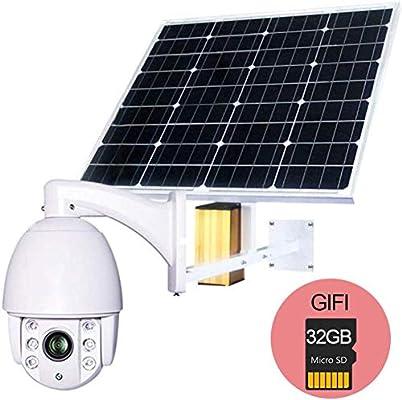 BD.Y 60W Panel Solar Cámara IP WiFi 1080P HD 3G 4G Tarjeta SIM PTZ ...