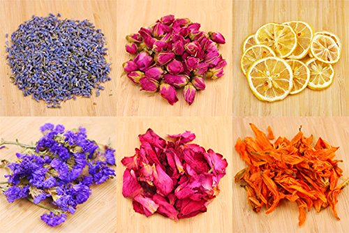Oameusa Dried Flowers,Artisan Dried Flower Kit - Candle Making, Soap Making,DIY Soap, 100% Pure Nature Flowers, AAA Food Grade- Rose flower, Lemon,Lavender,Lily,Rose Petal,Sea Lavender