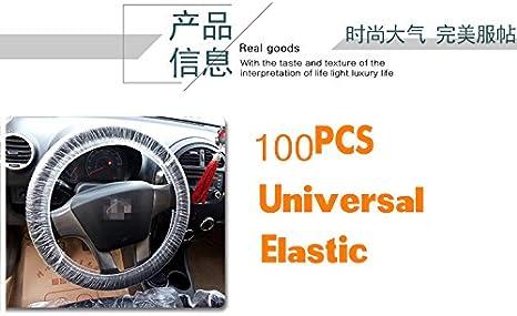 Set Car Steering Wheel Cover For Universal Disposable Plastic Covers Super thick 100 pcs Transparent, 100 Pcs