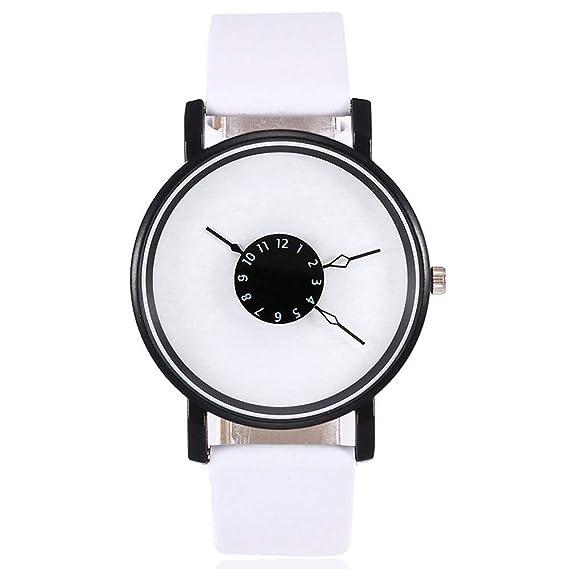 weant Moda para Mujer de Piel Casual Moda Reloj Mujer Original Reloj Chica Reloj de Pulsera Digital de Cuarzo Negro Blanca Elegante B: Amazon.es: Relojes