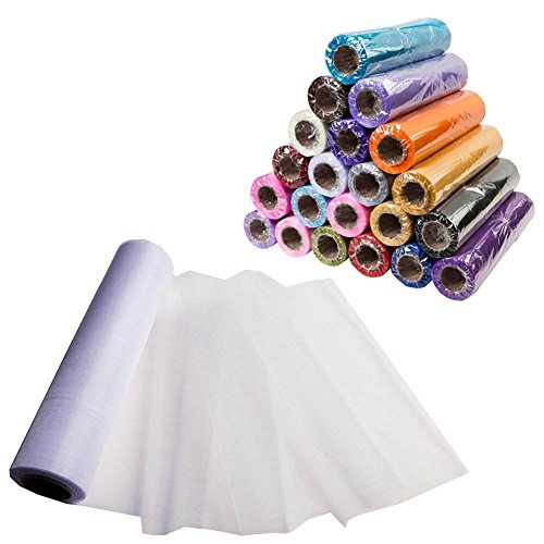 Meijuner 29CM X 25M Organza Tulle Roll Sashes Fabric Table Runner Chair Sashes Bow Swag Sheer DIY Fabric for Wedding Party Christmas Decoration (Pure White)