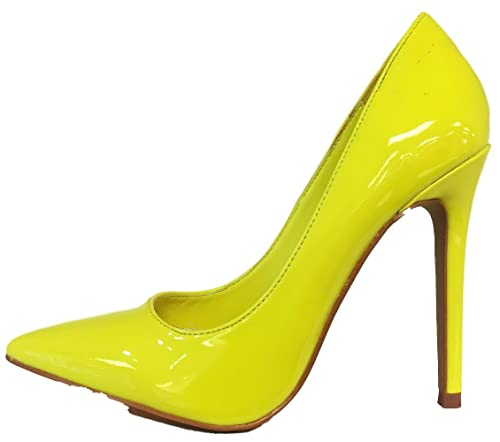 factory price new design website for discount SR Shiny Patent Pointy Toe Stiletto High Heel Slide Slip On Pump Shoe Neon  Yellow