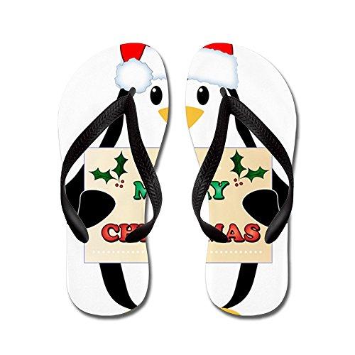 Cafepress Christmas Penguin - Tongs, Sandales À Lanières Drôles, Sandales De Plage Noir