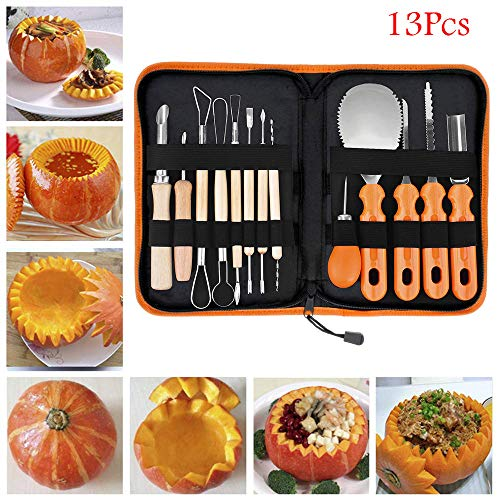 Pumsun ⭐️ Halloween Pumpkin Carving Tool Kit Set Kitchen Fruit Carve Cutter Tool Set 13pcs (Orange)