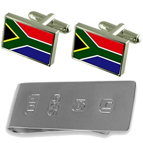 South Africa Flag Cufflinks & James Bond Money Clip by Select Gifts