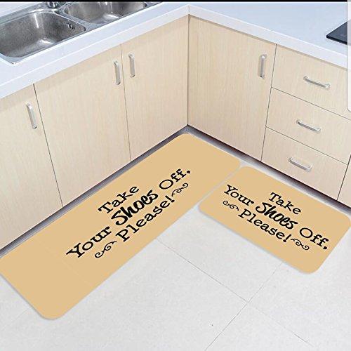 HomeCreator Non Slip 2pc Kitchen Area Rugs Take Your Shoes Off Please Absorbent Antibacterial Indoor Door Mats Set for Kitchen Dining Living Rug Runner 15.7