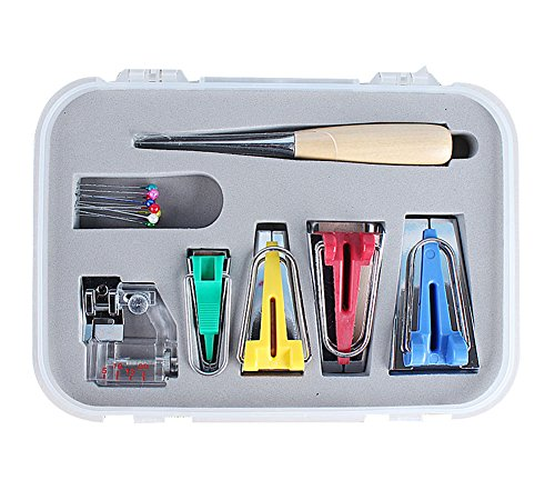 TOPCHANCES 16 Pcs DIY Craft Sewing Patchwork Bias Tape Maker Tool Kit for Sewing Quilting Awl and Adjustable Binder Foot w/Case by TOPCHANCES