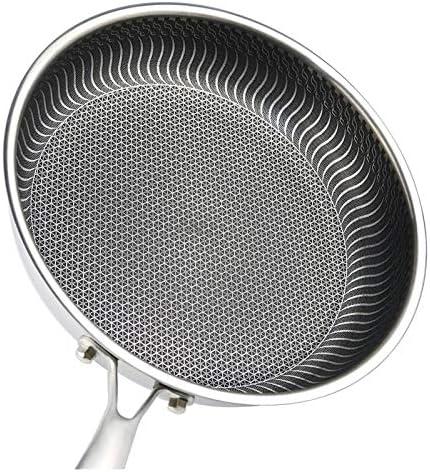 304 Nonstick Frying Pan en acier inoxydable Wok 10,5 pouces poêlon, for une cuisinière à induction, gaz naturel