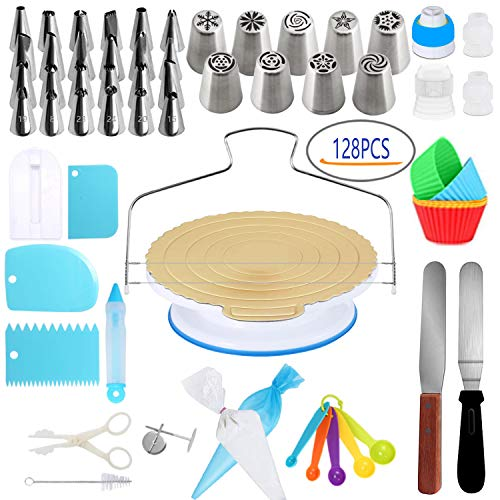 Cake Decorating Supplies Kit- 128 PCS Completed Decorating Set With Stands, Piping Tips, Pastry Bags,All-In-One Cake Decorating Set For Beginners And Professional