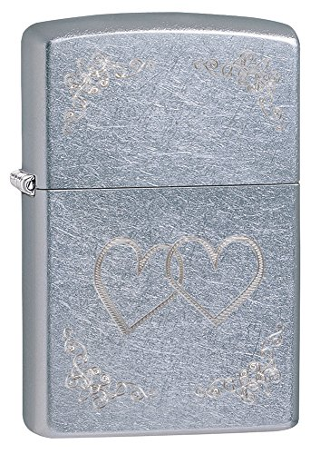 Zippo Heart to Heart Pocket Lighter, Street Chrome