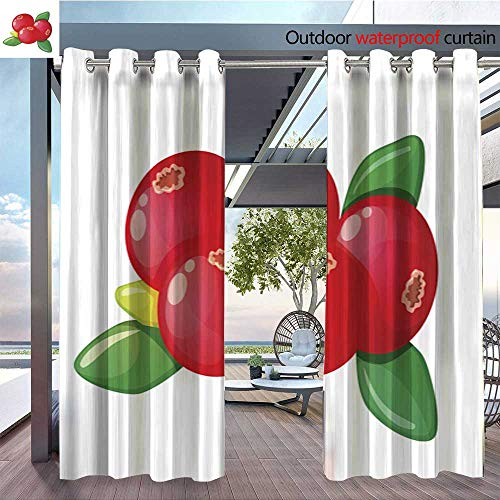 QianHe Outdoor Blackout Curtains Cranberry-on-a-White-Background.jpg Outdoor Privacy Porch Curtains W96 x L96(245cm x 245cm) -