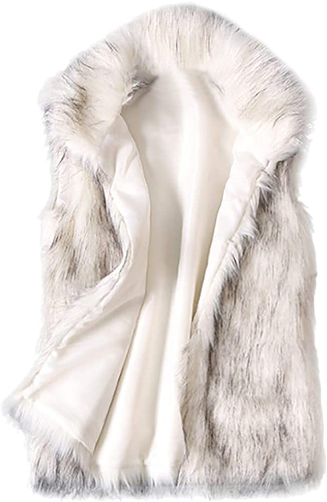 Women's Wool Vest Faux Fur Vest Stand Collar Sleeveless Faux Fur Coat Vest Jacket Waistcoat