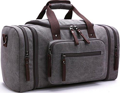 A-MORE Vintage Large Canvas Travel Bag Sports Bag Handbag Shoulder Bag Weekender Bag for Woman and Men (Grey)