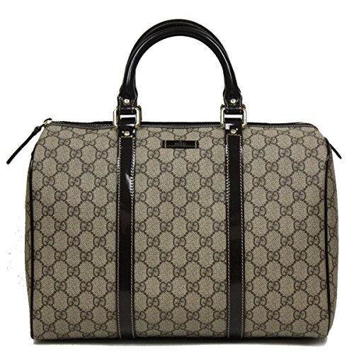 Gucci Supreme Canvas and Patent Leather Joy Boston Handbag Top Handle Bag with Shoulder Strap 193603