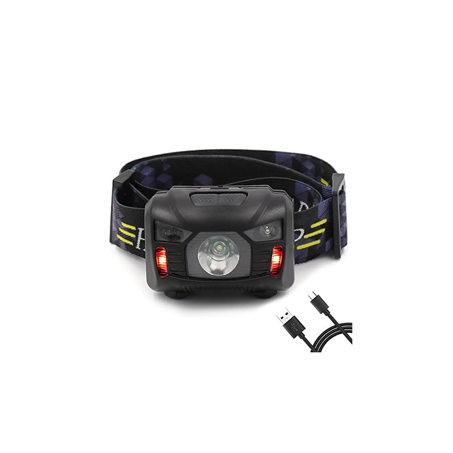 Headlamp with 6 Light Modes, Rechargeable and Waterproof Headlight with Adjustable Headband,Perfect New Year Gifts for Both Kids and Adults in Fishing, Running, Dog Walking, etc.USB Cable Included