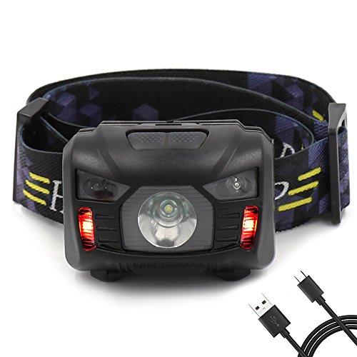 Headlamp with 6 Light Modes, Rechargeable and Waterproof Headlight with Adjustable Headband,Perfect Christmas Gifts for Both Kids and Adults in Fishing, Running, Dog Walking, etc.USB Cable Included