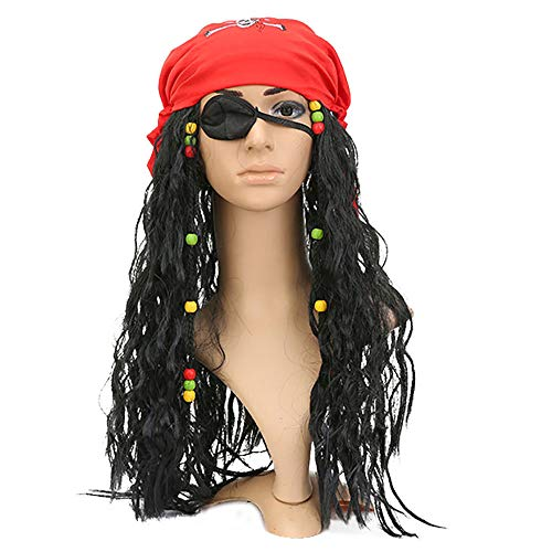 Wig Halloween Masquerade Pirate Wig Headgear Lifelike Personality Hairpieces
