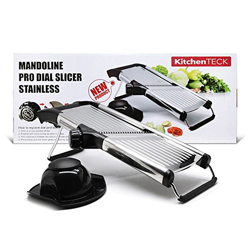 KitchenTECK Pro Dial Japanese Mandoline Slicer is Top of the Line Stainless Steel Julienne Vegetable Slicer Cheese Slicer French Fry Cutter Fruit Food Slicer Every Home Chef or Pro Should Own ()