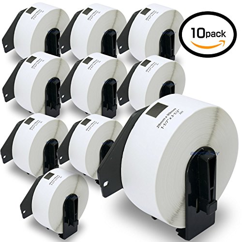 10 Rolls Brother-Compatible DK-1201 P-Touch 29mm x 90mm 4000 Die-Cut Standard Address Labels With Refillable Cartridge