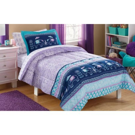 - Sophisticated, Soft and Cute Mainstays Kids Elle Boho Damask, Elephants and Flowers Girls Bed in a Bag Complete Bedding Set, Purple/Blue, Twin