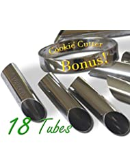 Craftit edibles Cannoli Tubes - Set of 18 with FREE Round Cookie cutter, 4.5 Inch. Stainless steel Cannoli Forms, Pastry Molds By CiE