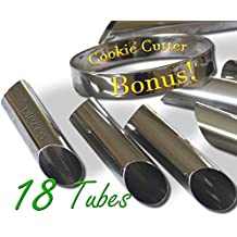 Cannoli Tubes - Set of 18 with FREE Round Cookie cutter, 4.5 Inch. Stainless steel Cannoli Forms, Pastry Molds By CiE