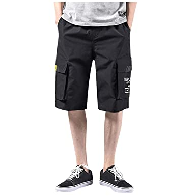 6bb1d4acd1 Men Shorts Causal 2019 New Beach Drawstring Slim Fit Lightweight Elastic  Waist Summer Short Overalls Pants Multi-Pocket at Amazon Men's Clothing  store: