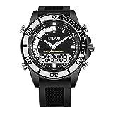 ETEVON Men's Analog Digital Military Sport Watch, Large Display Waterproof Multifunction LED Light Alarm Calendar Fashion Army Outdoor Black