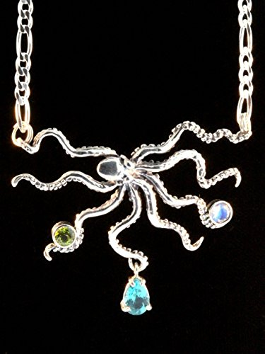 Jeweled Treasure (Jeweled Treasure Octopus Necklace Silver Tentacle Jewelry)