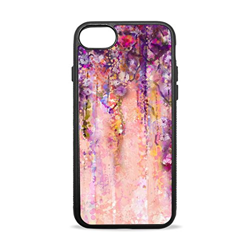 AURELIOR iPhone 7 Plus Case, Pink Violet Watercolor Flowers Painting Wisteria Tree Cover Case Soft TPU Protective Anti-Slippery Scratch-Resistant Shockproof Bumper for Apple iPhone 7 Plus (5.5
