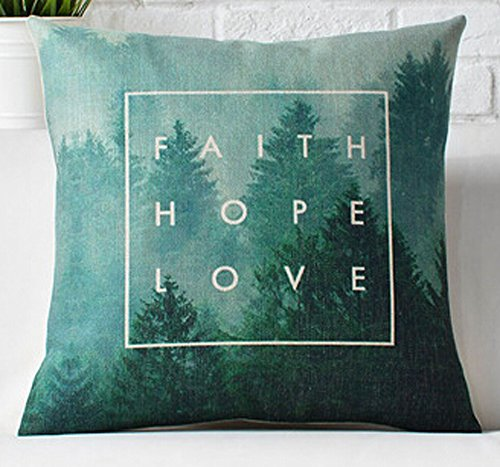 Nordic creative design modern geometric green forest animals Home Throw Pillow Case Personalized Cushion Cover NEW Home Office Decorative Square 18 X 18 Inches Best Mother's Day Gift (faith hope love)