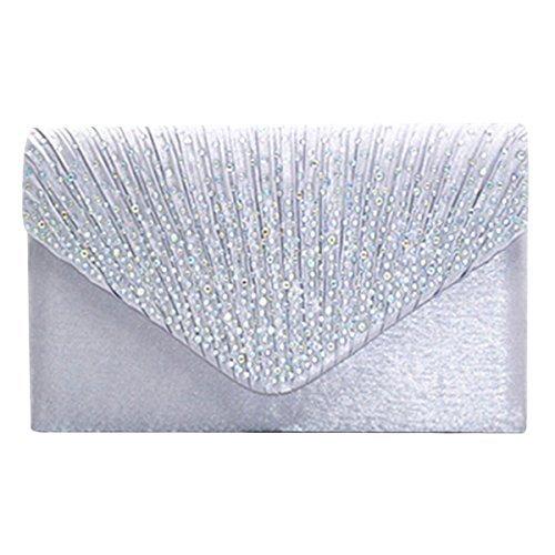 Sasairy Womens Rhinestone Evening Envelope Clutch Bag Wedding Party Handbag Purse