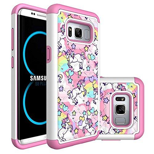 Galaxy S8 Plus Case, S8 Plus Hybrid Case, Heavy Duty Shockproof Studded Rhinestone Crystal Bling Hybrid Case Silicone Protective Armor for Samsung Galaxy S8 Plus 2017 Release (Rainbow Unicorn)