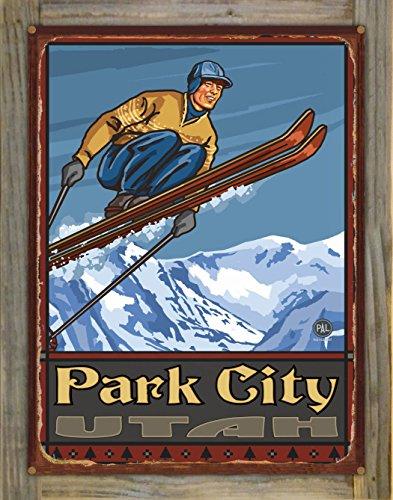 Park City Utah Ski Jumper Rustic Metal Print on Reclaimed Barn Wood by Paul A. Lanquist (18
