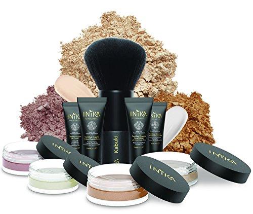 INIKA Face In A Box, Makeup Gift Set, Essentials Starter Beauty Kit, All Natural Formula, Travel Sizes : Primer, Foundation, Bronzer, Concealer, Blush, Vegan Kabuki Brush ()