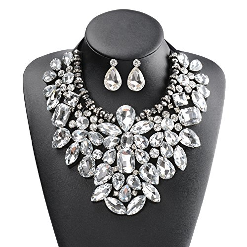 [Holylove Woman Fashion Handmade White Glass Beads Choker Statement Necklace with Earrings Jewelry Set-N0008455] (Necklaces And Earrings)