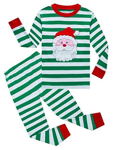 IF Pajamas Santa Claus Baby Girls Boys Pjs 100% Cotton Long Sleeve Newborn Striped Size Green 18-24 Months (Pajamas Christmas)