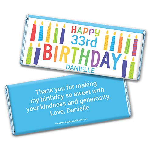 Birthday Favors Personalized Wrappers for Hershey's Chocolate Bars (25 Count)