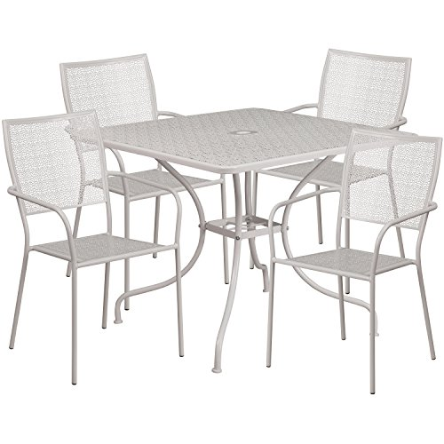 "Flash Furniture 35.5"" Square Light Gray Indoor-Outdoor Steel Patio Table Set with 4 Square Back Chairs"
