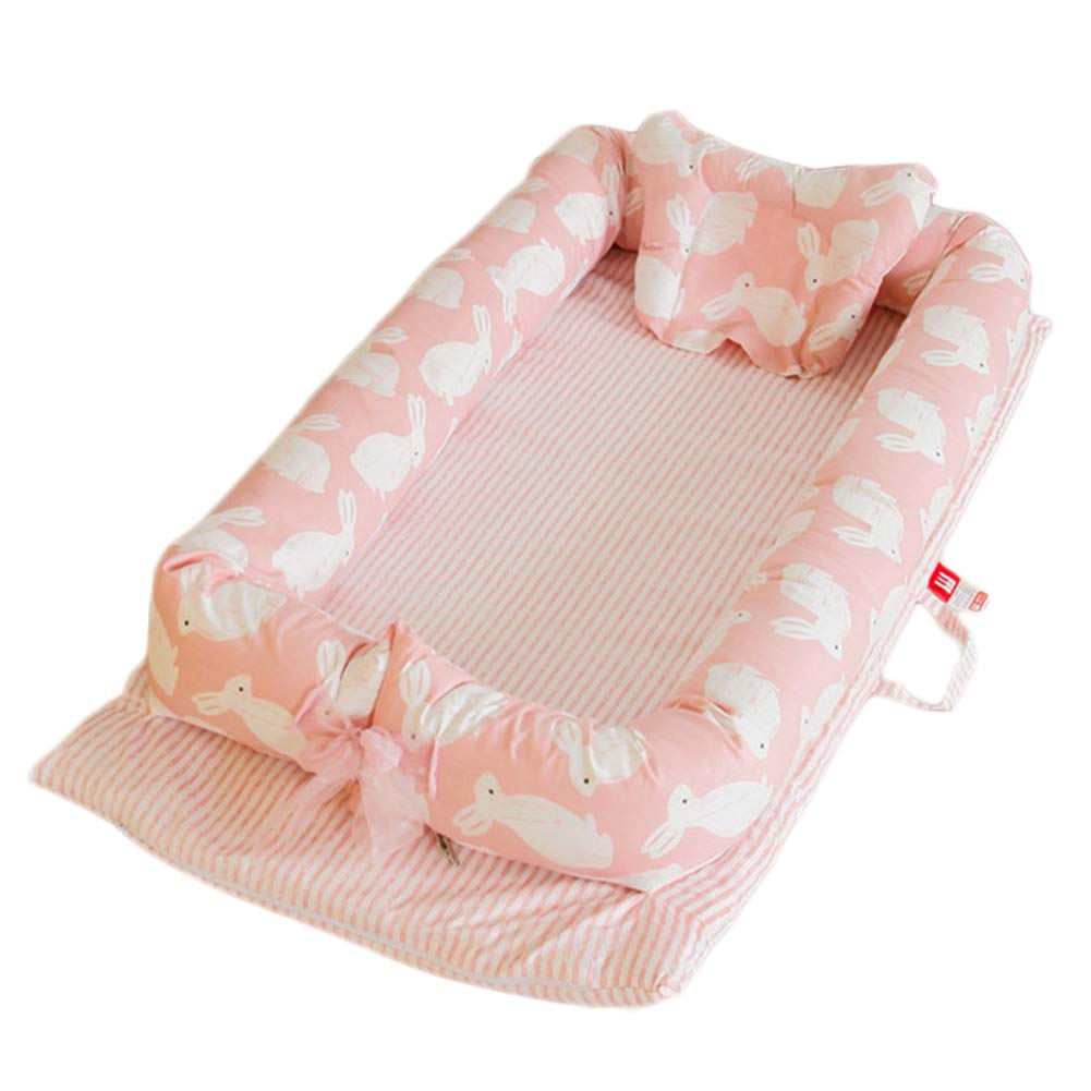 Super Soft Simulation Uterus Baby Bassinet for Bed, Newborn Co-Sleeping Cribs & Cradles Lounger Cushion with Cotton Cover, Portable Travel Infant Bed, Pink Rabbit alibalala