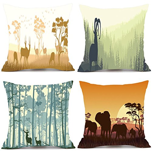 Bilila 4PC Pillows Cover Decor Pillow Case Sofa Waist Throw Cushion Home Decor Square (18''x18'' (approx 45cm45cm), Color) by Bilila